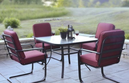 Patio with outdoor dining table and chairs