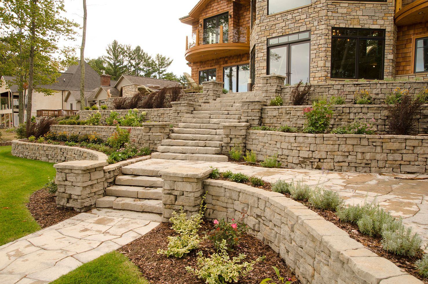 Tiered garden walls and stone stairs