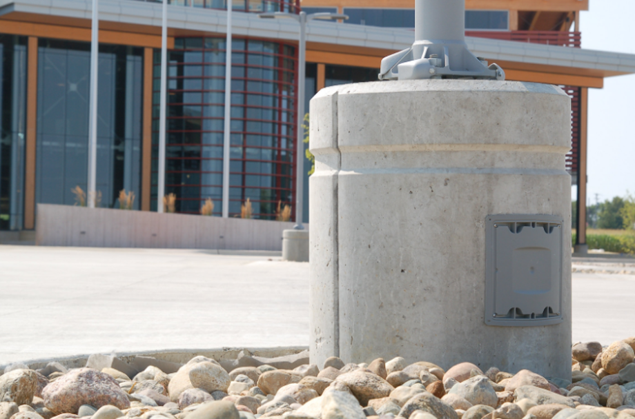 Pole Base with junction box precast
