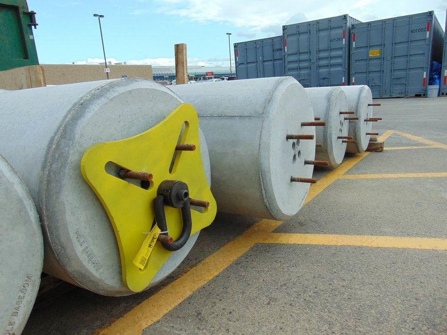 Pole Base staging area - site lighting logistics