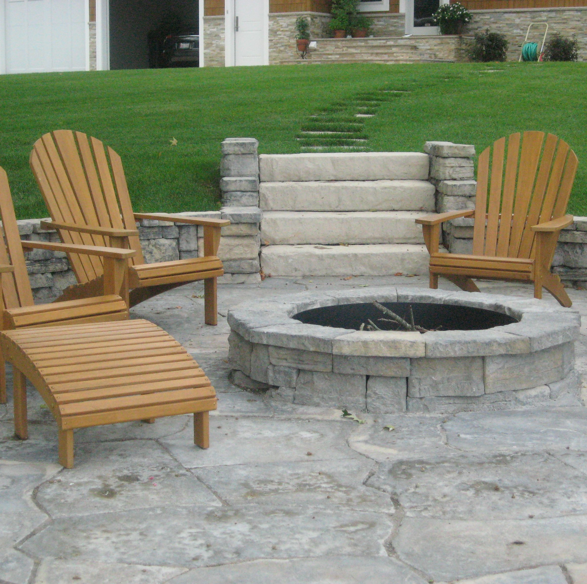 Belvedere Fire Pit with wooden patio chairs