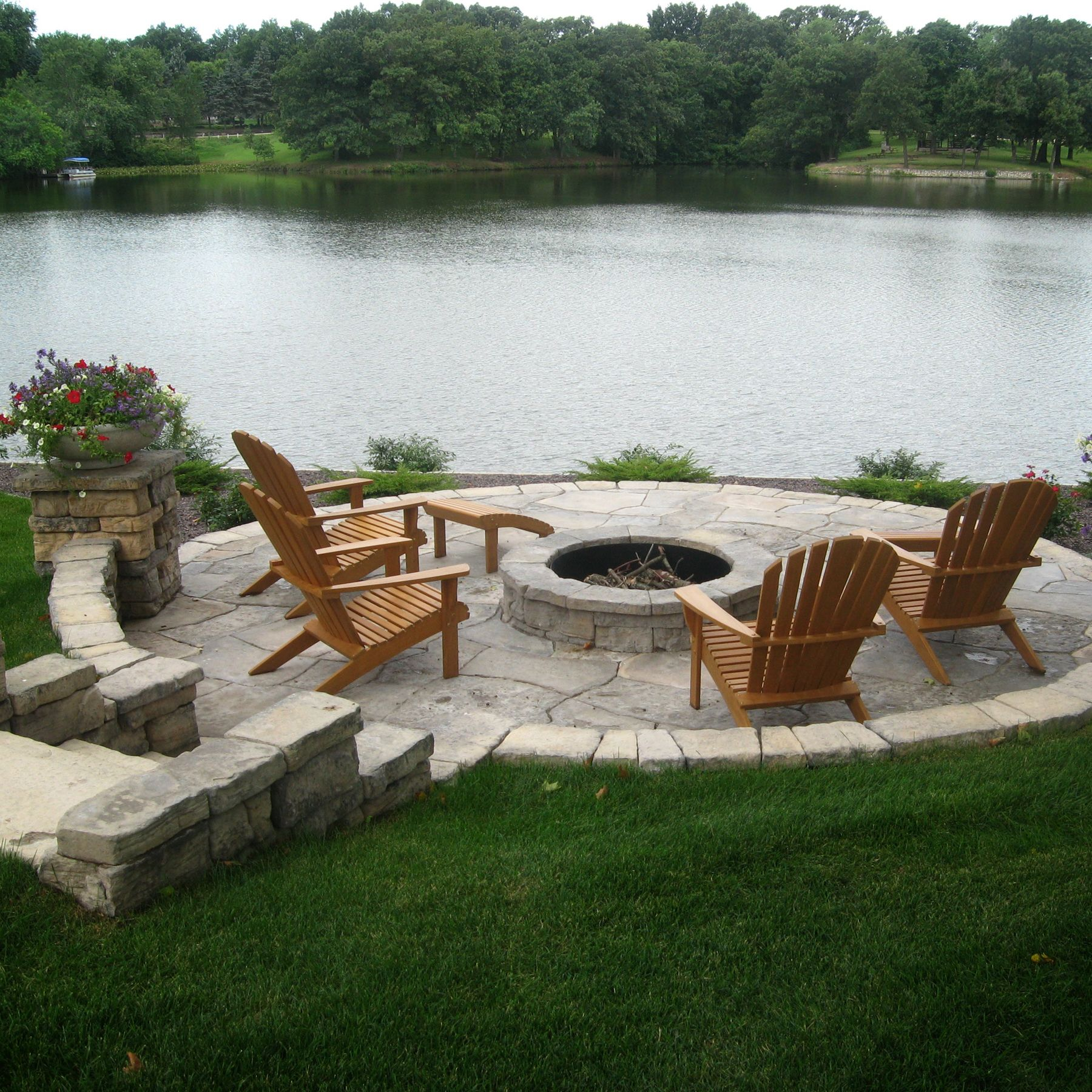 Lakeside patio with fire pit