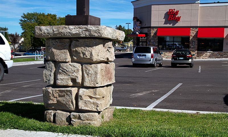 Ledgestone textured bases saved a contractor thousands