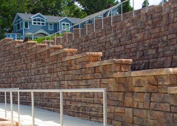 Retaining Walls Create Lake Access for Home