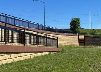Retaining Walls for Pedestrian Path Along Highway