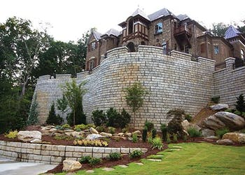Retaining Wall Makes Beautiful Estate Possible