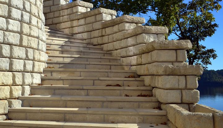 A curving staircase made from Redi-Rock products