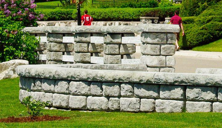 Caps finish off Cobblestone seat walls and columns from Redi-Rock