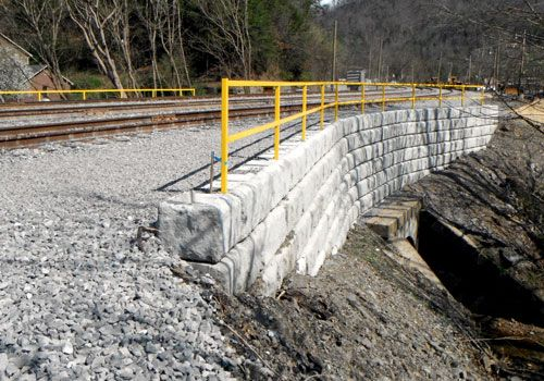 Limestone wall supporting train track over culvert