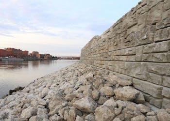 River Sea Wall Supports Development