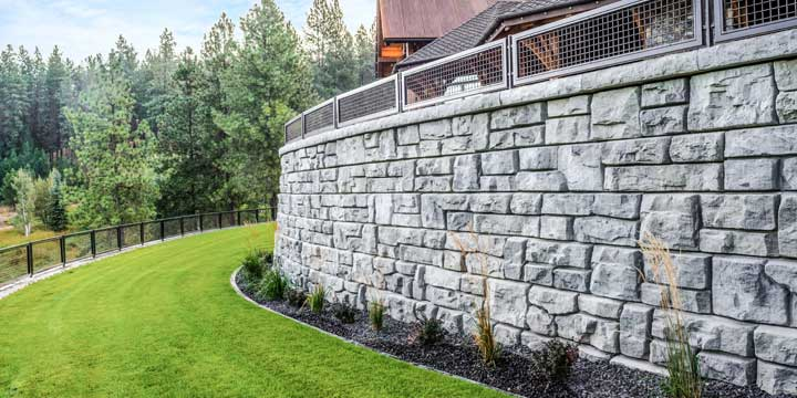 Residential home with a ledgestone texture gravity wall