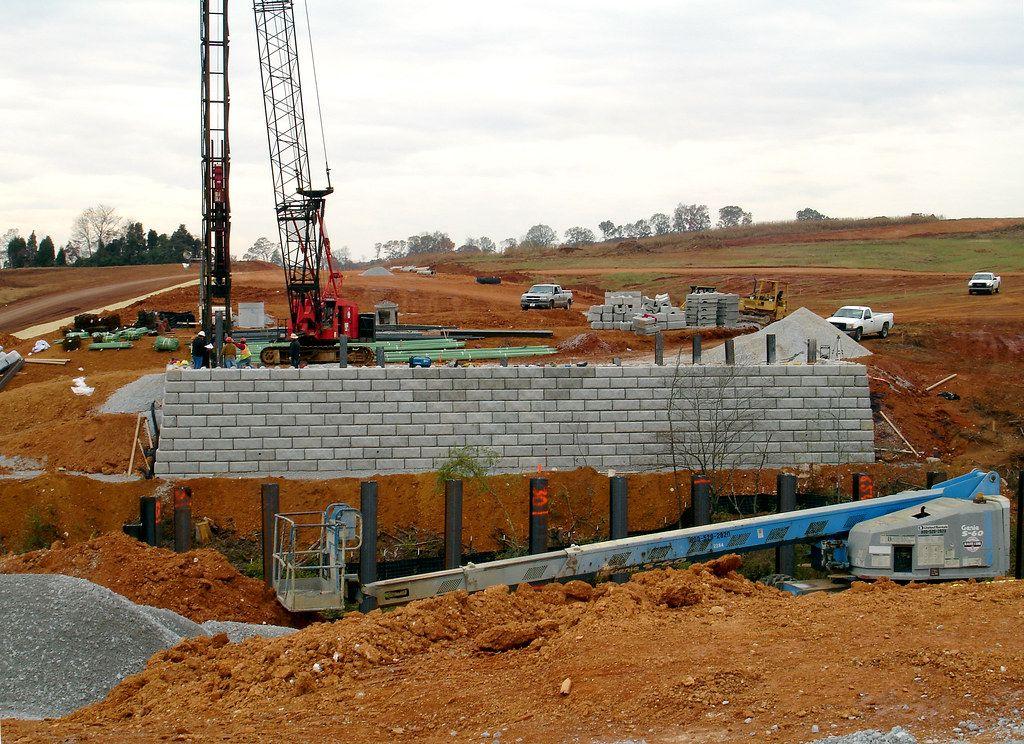 Bridge abutment construction using Limestone retaining wall blocks