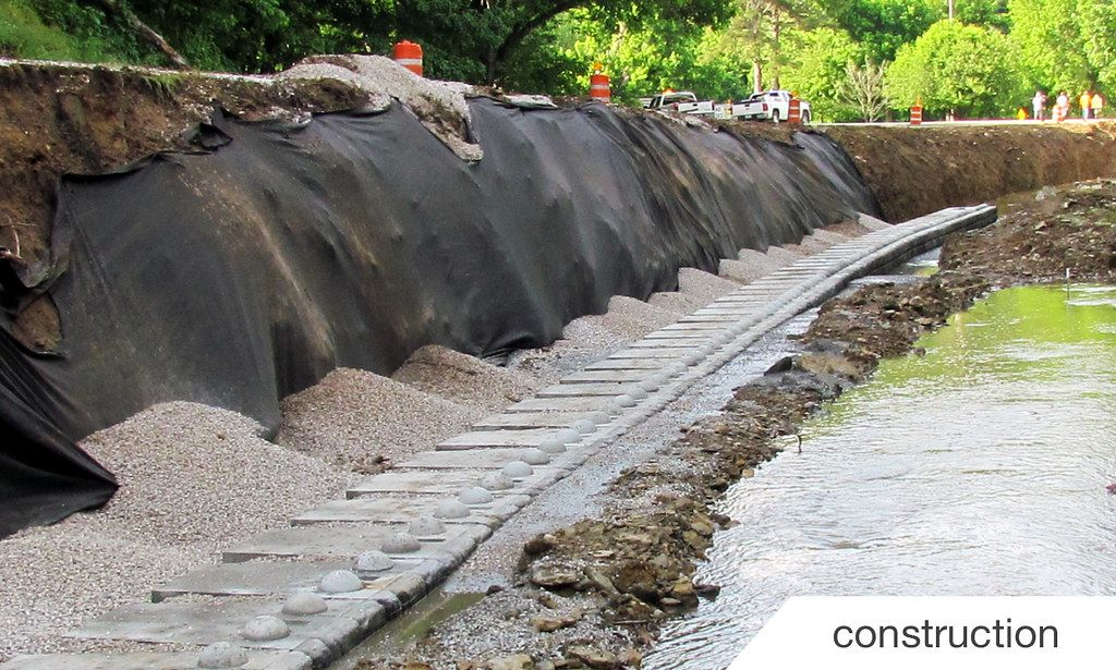 Construction of roadway retaining wall during inclement weather