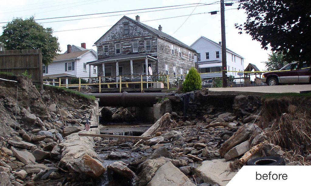 Coal Creek flood erosion damage before new retaining walls were built