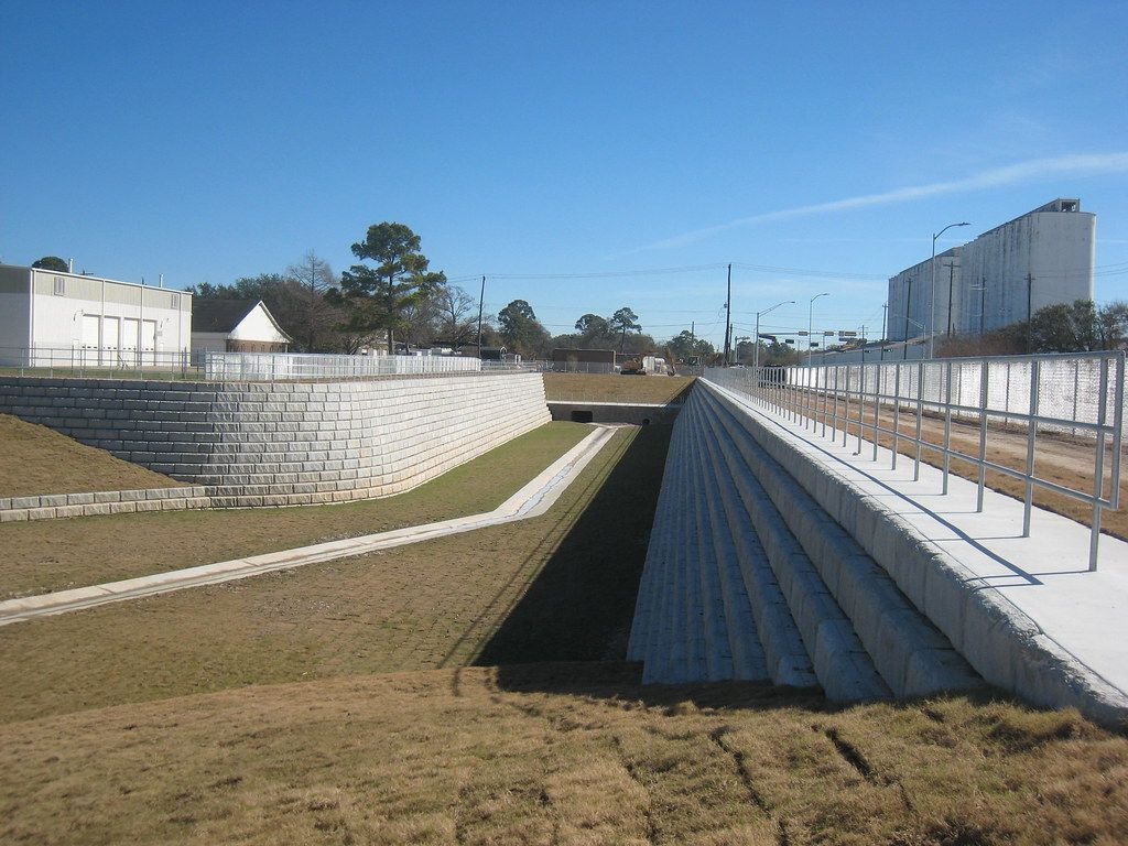 9in setback blocks helped expand a detention basin capacity
