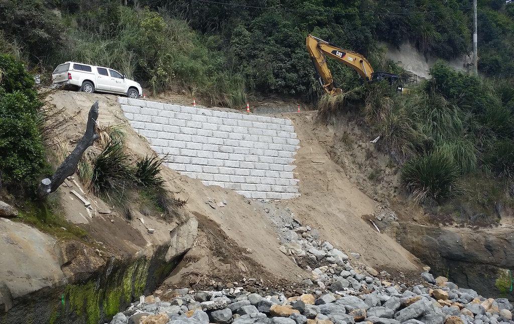 Limestone retraining wall emergency landslide repair