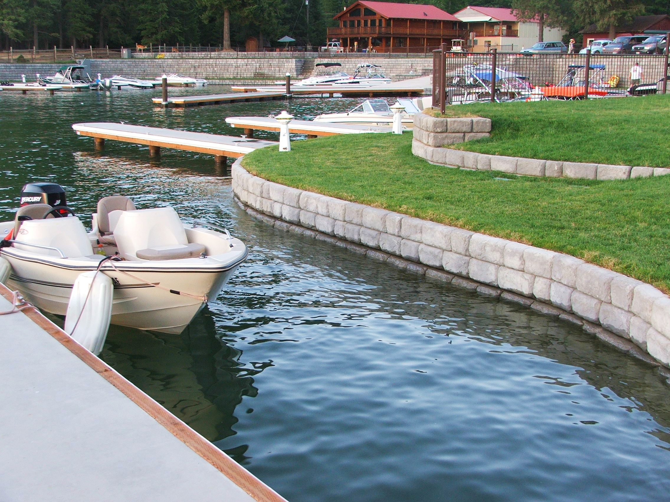 Marina with gravity walls and speedboat