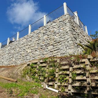 Ledgestone texture residential wall in NZ