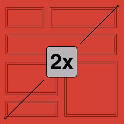 Illustration of block face twice as tall as standard Redi-Rock blocks