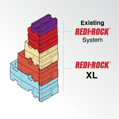 Redi-Rock XL blocks stacked up with other blocks in the system