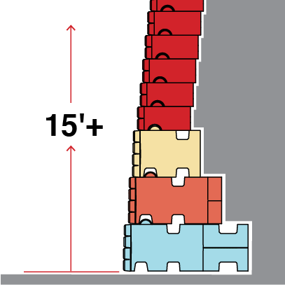 Illustration of Redi-Rock XL blocks stacked up to over 15 feet in height