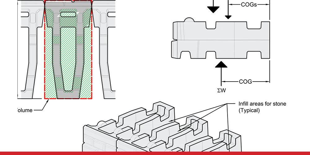 Illustration of construction detail infill calculations for XL blocks