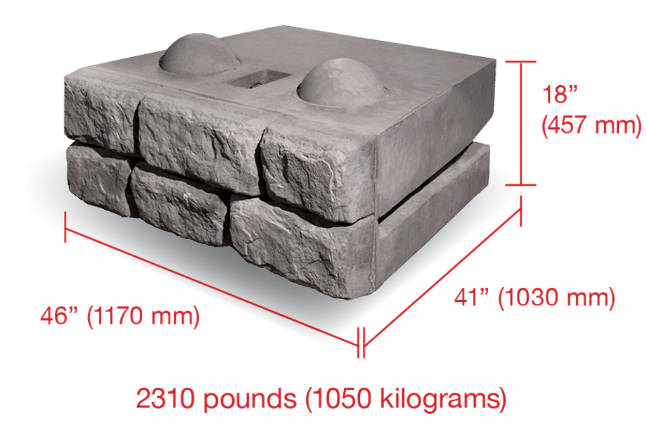 A Cobblestone block labeled with dimensions