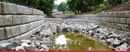 Limestone retaining wall storm water channel