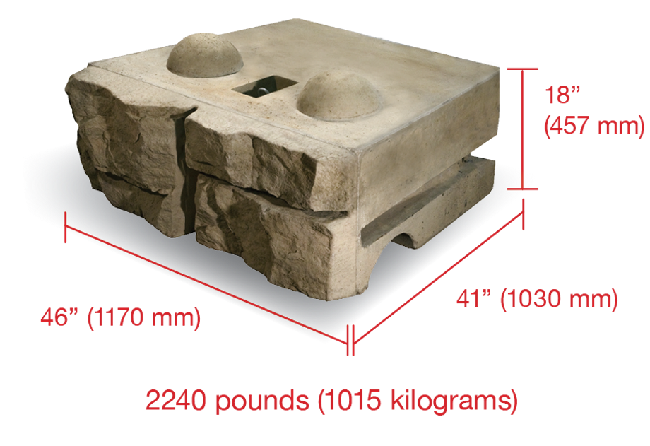 A Ledgestone textured block with dimensions
