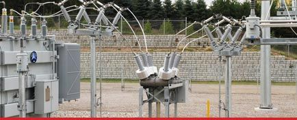 Electrical substation with Cobblestone retaining walls