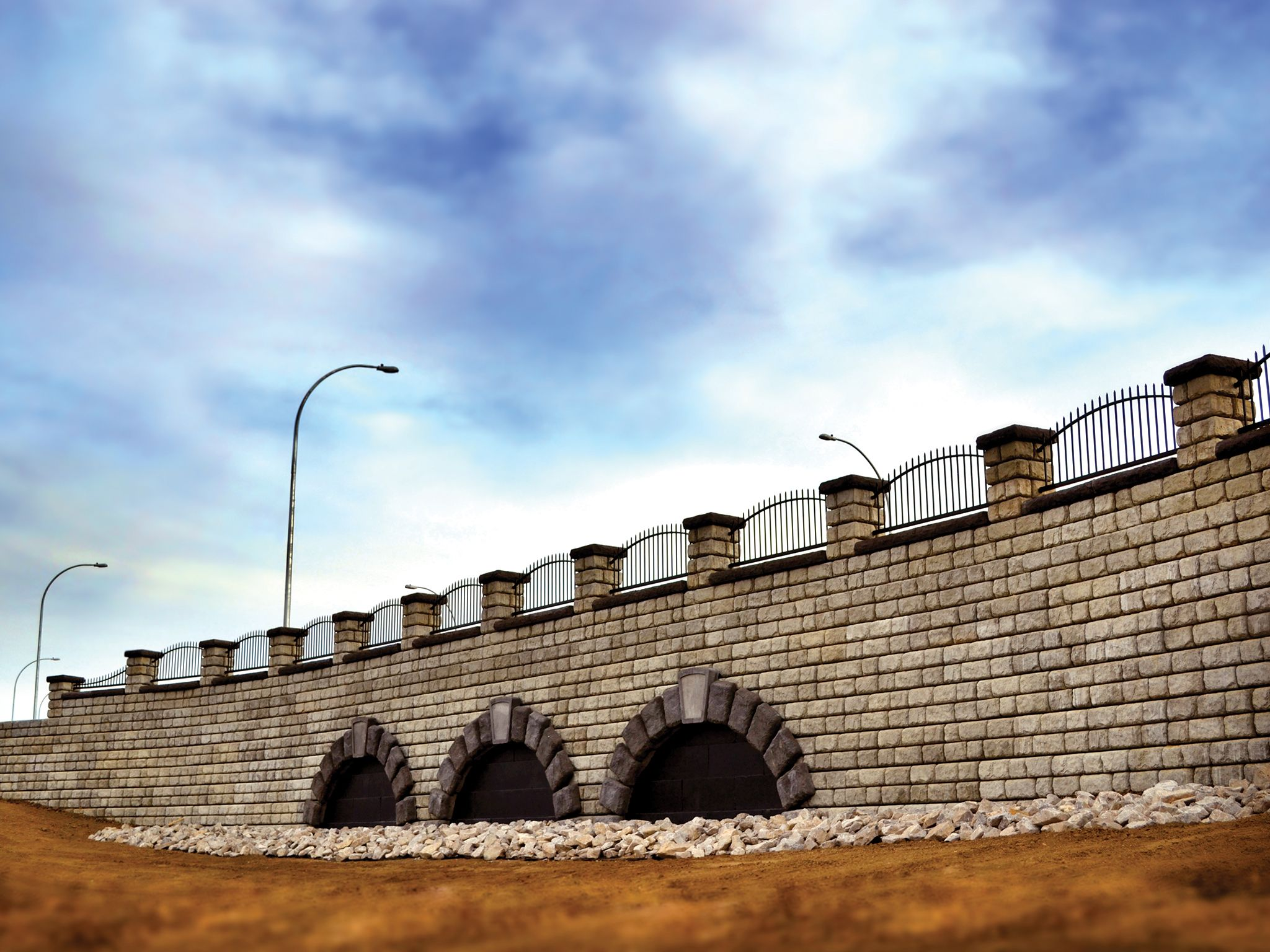 Completed Cobblestone wall with columns and fencing