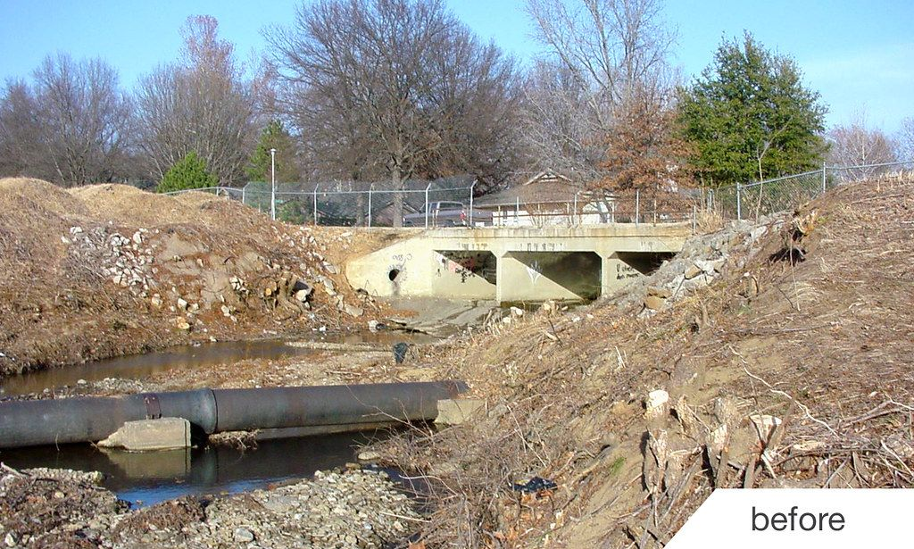 Fred Creek erosion issues prior to retaining wall construction