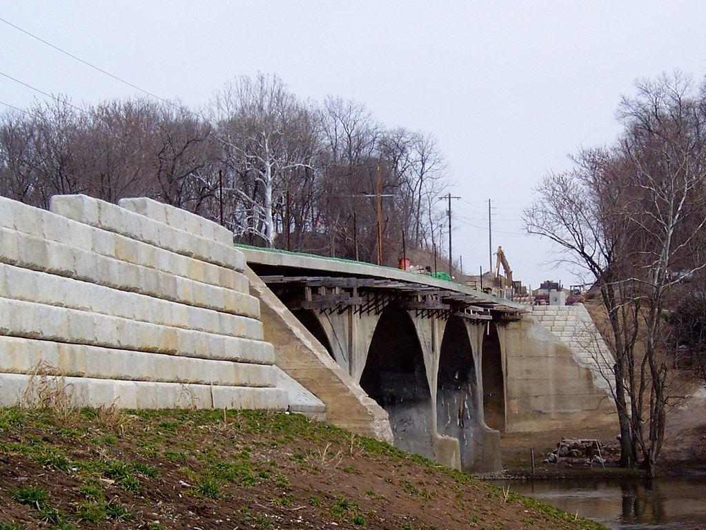 Restored bridge supported by Redi-Rock Limestone walls