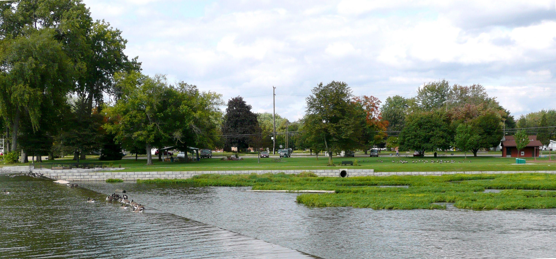 Veterans Memorial Park along River Raisin