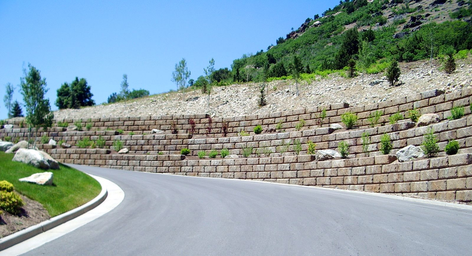 Tiered Limestone retaining walls blend with surrounding colors