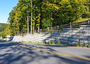 Gravity Retaining Walls Prevent Roadway Washouts