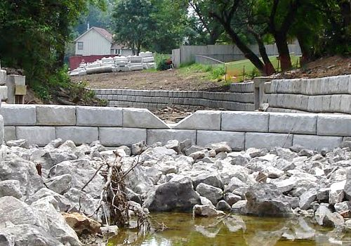 Channel using retaining walls for erosion control