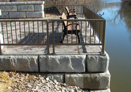 Limestone block walls give aesthetic look to fishing pier